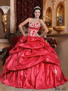 Coral Red Quinceanera Dress by Taffeta with Appliques and Ruffles