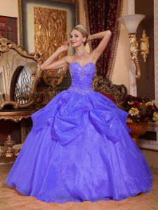 Deep Lavender Sweet Sixteen Dresses with Beading and Handmade Flowers