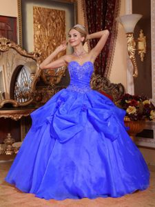 Blue Sweetheart Quinceanera Dress by Taffeta and Organza with Appliques