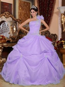 Lilac One Shoulder Floor-length Quinceneara Dresses with Appliques