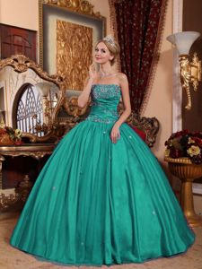 Turquoise Ball Gown Floor-length Taffeta Quinceanera Dresses