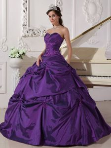 Cheap Purple Floor-length Sweet Sixteen Dresses with Pick-ups