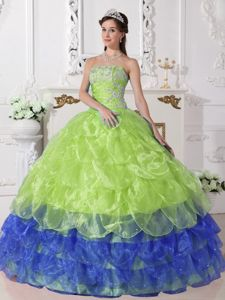 Yellow and Blue Tiered Organza Appliques Quinceanera Dresses