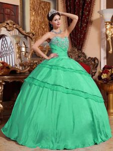 Turquoise Bal Gown Strapless Sweet 15 Dresses with Appliques