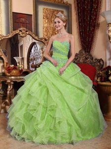 Beaded Yellow Green Quinceneara Dresses with Ruches and Appliques
