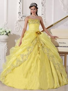 Yellow Ball Gown Quinceanera Dresses with Hand-made Flowers