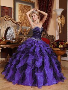 Beaded Multi-color Organza Sweet 15 Dresses with Ruffles