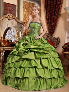 Olive Green Taffeta Quince Dresses with Pick-ups and Appliques