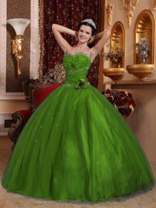 Green Beaded Tulle Sweet Sixteen Dresses with Hand-made Flowers
