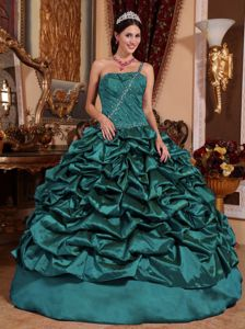 One Shoulder Teal Taffeta Quinceanera Dresses with Pick-ups