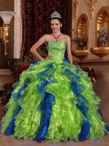 Multi-color Strapless Floor-length Sweet 15 Dresses with Ruffles