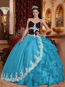 Blue and Black V-neck Quinceneara Dresses with Appliques