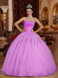 Lavender Strapless Floor-length Tulle Quinceanera Dresses