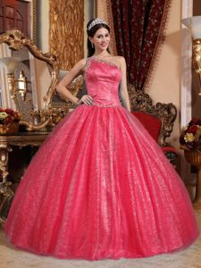 Red One Shoulder Beaded Ball Gown Tulle Sweet 15 Dresses