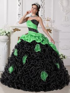 Green and Black Beaded Quinceanera Dresses with Rolling Flowers