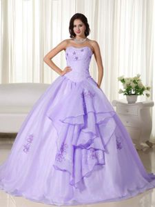 Lilac Ball Gown Strapless Sweet 16 Dresses with Embroidery