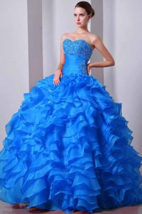 Aqua Blue Beaded Mariah Carey Quinceanera Dresses with Layered Ruffles