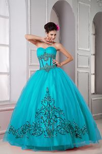 Teal Ball Gown Tulle Sweet Sixteen Dresses with Appliques