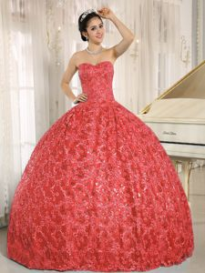 Coral Red Sweetheart Ball Gown Quinceneara Dresses with Sequins Katy Perry dress