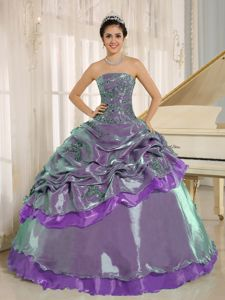 Impressive Multi-color Strapless Sweet Sixteen Dresses with Pick-ups