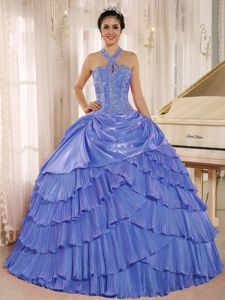 Blue Halter Beaded Layered Quinceneara Dresses with Pleats