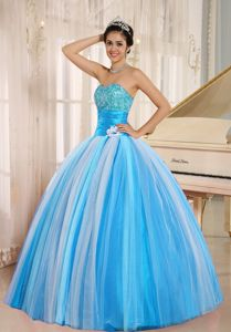 Multi-color Strapless Floor-length Tulle Quinceneara Dresses
