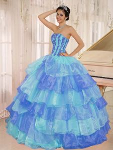 Strapless Layered Ruffles Quinceanera Dresses with Appliques
