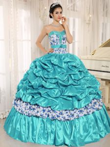 Turquoise Taffeta Quinceneara Dresses with Pick-ups and Printing
