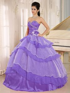 Purple Sweetheart Beaded Layered Quinceanera Dresses with Flower