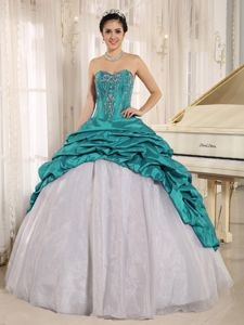 Turquoise Taffeta Sweet 16 Dresses with Embroidery and Pick-ups