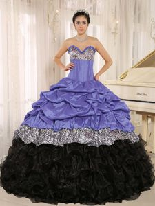 Purple and Black Sweetheart Quinceanera Dresses with Ruffles