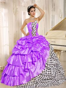 Multi-color Strapless Taffeta Pick-ups Quinceanera Gown Dresses
