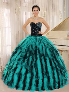 2014 Elegant Multi-color Sweetheart Ruffles Beaded Quinceanera Dresses for Miss Universe