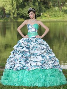 Colorful Printing and Ruffled Organza Quinceanera Dresses