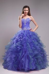 Blue Sweetheart Ball Gown Sweet Sixteen Dresses with Ruffles