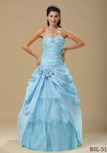Aqua Blue Sweetheart Quinceanera Dresses with Ruches and Flowers