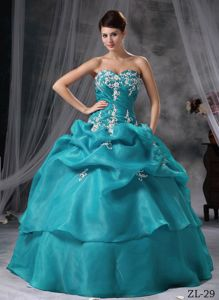 Jade Colored Appliqued Sweetheart Quinceanera Dresses with Pick-ups