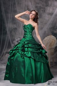 Green Appliqued Sweet 15 Dress with Pick ups and Hand Made Flowers