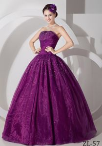 Dark Magenta Beading Sweet 15/16 Birthday Dress with Pleats