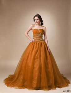 Dark Orange Beading Sweet 15/16 Birthday Dress with Pleats
