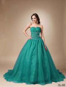 Taffeta and Organza Beading Sweet 15/16 Birthday Dress with Pleats