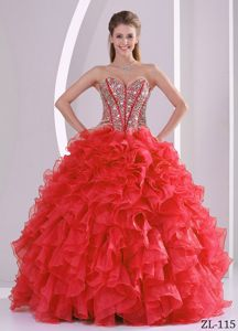 Chic Beading Sweetheart Sweet 15/16 Birthday Dress with Ruffles