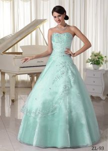 Mint Sweetheart Organza Beading Quinceanera Dresses with Appliques