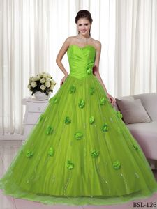 Chic Apple Green Sweetheart Quinceanera Dresses with 3D Flowers