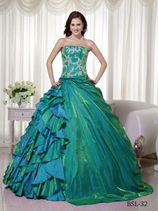 Colorful Strapless Quinceanera Dresses with Appliques and Ruffles