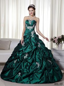 Hunter Strapless Appliqued Quinceanera Dresses with Pick-ups