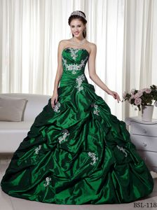 forest Green Appliqued Dresses for a Quince with Pick-ups