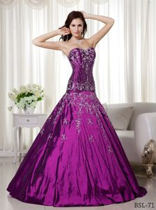 Classic Purple Dresses for a Quince with Embroidery