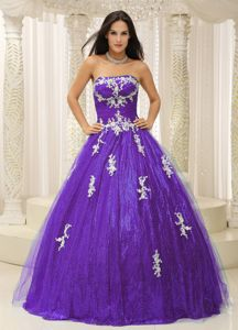 Classic Purple Strapless Dresses for a Quince with Appliques