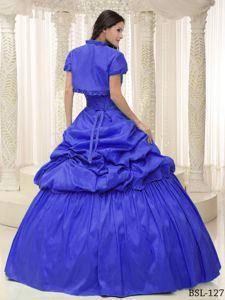 Royal Blue Lace up Back Dresses for a Quince with Capelet and Pick-ups